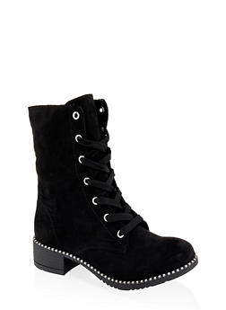 Studded Sole Combat Boots - BLACK SUEDE - 3116014062664
