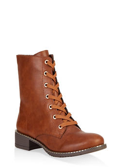 Studded Sole Combat Boots - CHESTNUT - 3116014062664