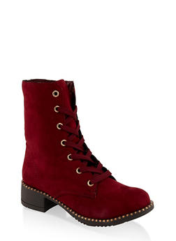 Studded Sole Combat Boots - BURGUNDY - 3116014062664