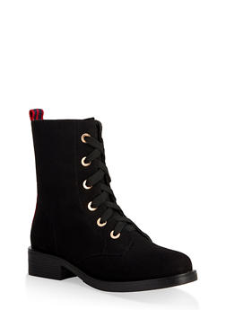 Striped Tape Detail Combat Boots - BLACK SUEDE - 3116014062676