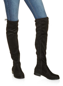 Faux Suede Over the Knee Boots - BLACK SUEDE - 3116014064266