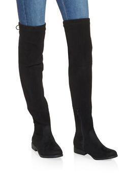 Ribbed Lace Up Over the Knee Boots - BLACK SUEDE - 3116014066662