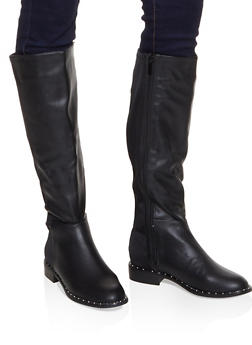 Tall Studded Sole Boots - 3116014067381