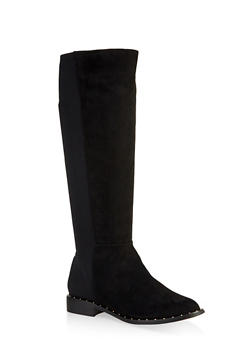Tall Studded Sole Boots - BLACK SUEDE - 3116014067381