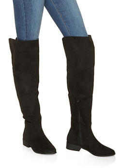 Over the Knee Boots - BLACK SUEDE - 3116014067529