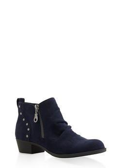 Studded Ruched Booties - NAVY - 3116027615211