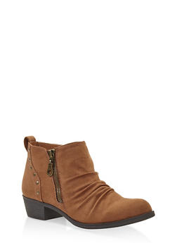 Studded Ruched Booties - CHESTNUT - 3116027615211