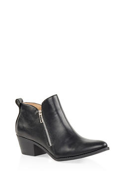 Pointed Toe Double Zip Ankle Booties - BLACK - 3116043678403