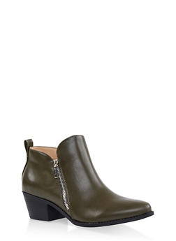 Pointed Toe Double Zip Ankle Booties - OLIVE - 3116043678403