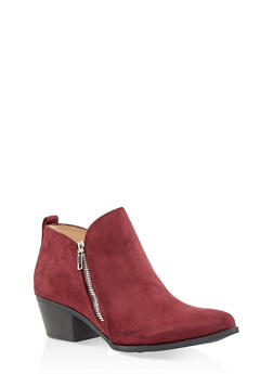 Pointed Toe Double Zip Ankle Booties - WINE - 3116043678403