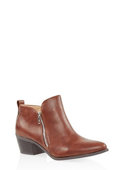 Pointed Toe Double Zip Ankle Booties - CHESTNUT - 3116043678403