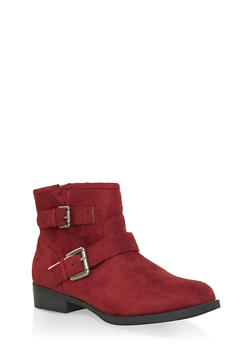 Double Buckle Booties - WINE - 3116043678829
