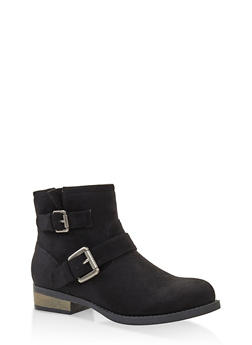 Double Buckle Booties - BLACK SUEDE - 3116043678829