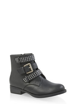 Studded Triple Strap Booties - BLACK - 3116043678831