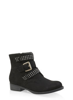 Studded Triple Strap Booties - BLACK SUEDE - 3116043678831