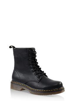 Rubber Sole Lace Up Combat Boots - 3116053738266