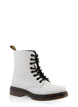 Rubber Sole Lace Up Combat Boots - 3116053738266