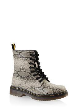 Rubber Sole Lace Up Combat Boots - BEIGE - 3116053738266