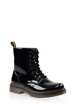 Rubber Sole Lace Up Combat Boots - BLACK PATENT - 3116053738266