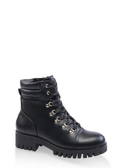 Lace Up D Ring Hiking Boots - BLACK - 3116053875253