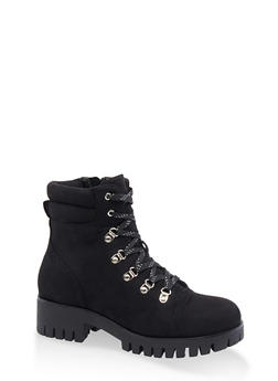 Lace Up D Ring Hiking Boots - BLACK SUEDE - 3116053875253