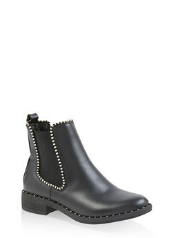 Elastic Trim Studded Booties - 3116053876478