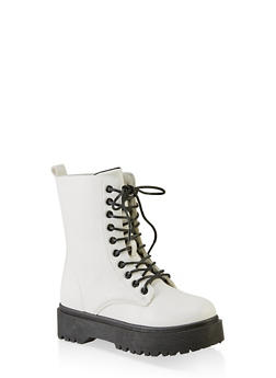 Lace Up Faux Leather Platform Booties - 3116053877264