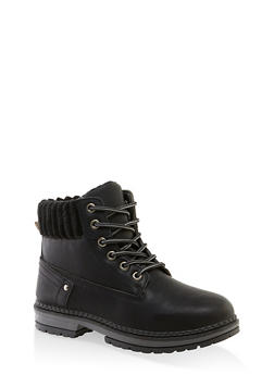 Ribbed Collar Work Boots - BLACK - 3116056632577