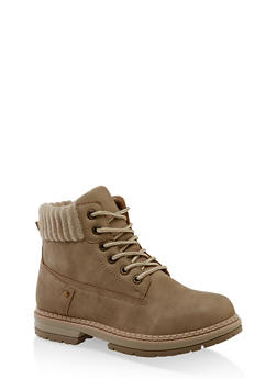Ribbed Collar Work Boots - NATURAL - 3116056632577