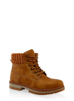 Ribbed Collar Work Boots - CHAMOIS - 3116056632577