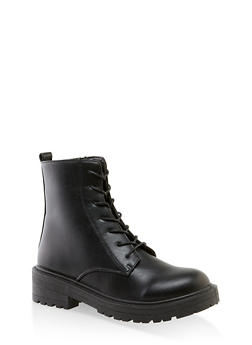 Lace Up Zip Side Booties - BLACK - 3116056634260