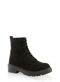 Lace Up Zip Side Booties - BLACK SUEDE - 3116056634260