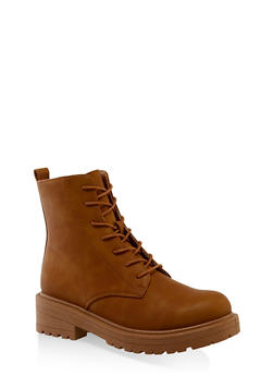 Lace Up Zip Side Booties - CHAMOIS - 3116056634260