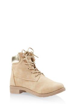 Metallic Detail Work Boots - TAN - 3116062728466