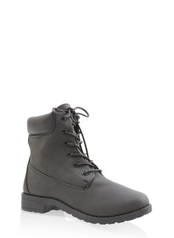 Lug Sole Work Boots - BLACK - 3116062728467