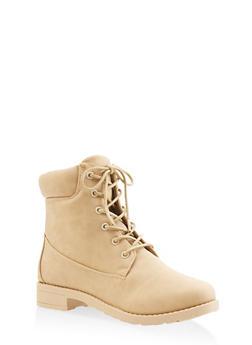 Lug Sole Work Boots - BEIGE - 3116062728467
