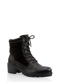 Striped Trim Work Boots - BLACK - 3116070750213