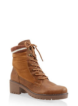 Striped Trim Work Boots - CAMEL - 3116070750213