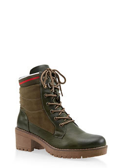 Striped Trim Work Boots - OLIVE - 3116070750213