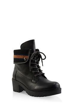 Rib Knit Trim Work Boots - BLACK - 3116070757024