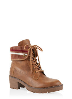 Rib Knit Trim Work Boots - CAMEL - 3116070757024