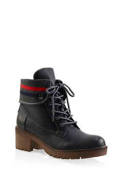Rib Knit Trim Work Boots - NAVY - 3116070757024