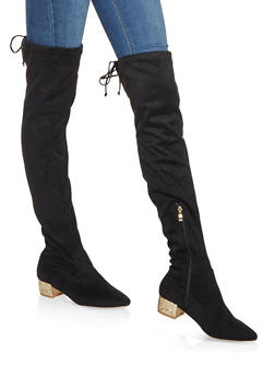 Glitter Heel Over the Knee Boots - BLACK - 3116073494548
