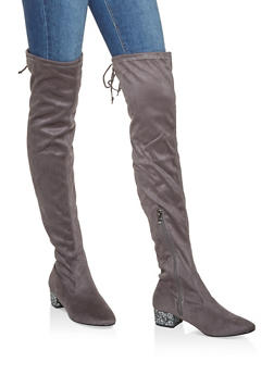 Glitter Heel Over the Knee Boots - GRAY - 3116073494548