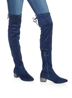 Glitter Heel Over the Knee Boots - NAVY - 3116073494548