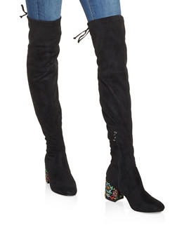 Embroidered Heel Over the Knee Boots - 3116073494678