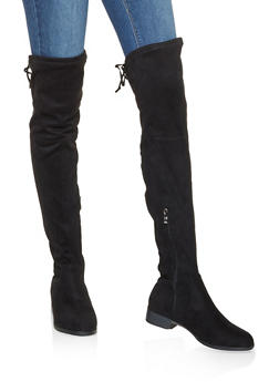 Tie Back Over the Knee Boots - BLACK - 3116073496673