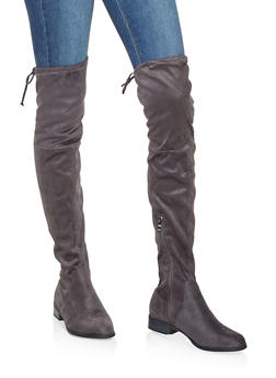 Tie Back Over the Knee Boots - GRAY - 3116073496673