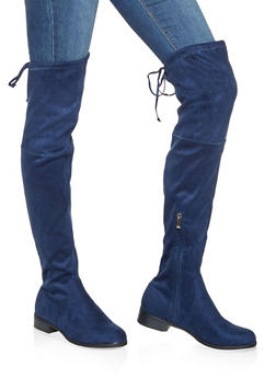Tie Back Over the Knee Boots - 3116073496673