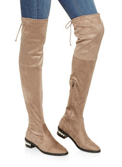 Over The Knee Faux Pearl Heel Boots - TAUPE - 3116073497337